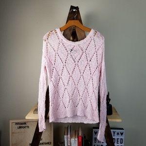 AE▪︎ Pink Oversized Loose Knit Cozy Boho Sweater